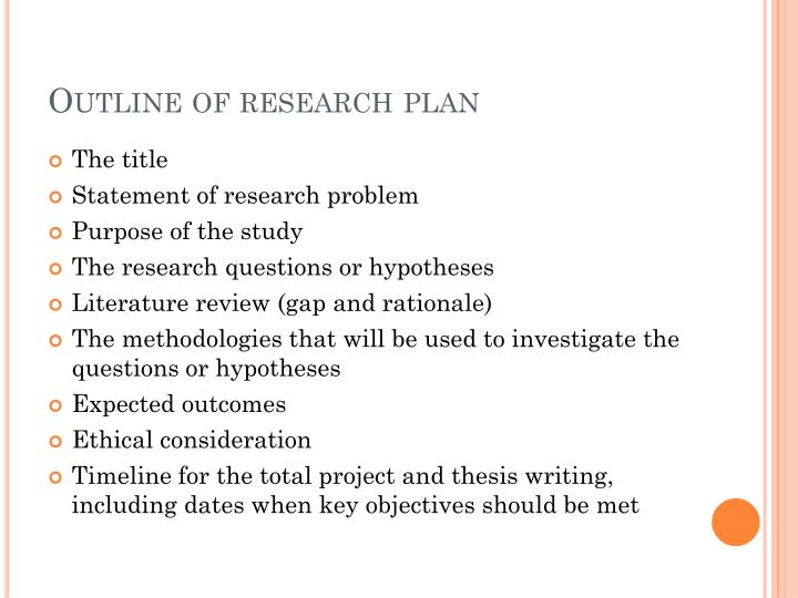 Outline of research plan