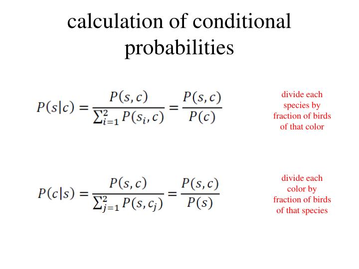 calculation of conditional probabilities