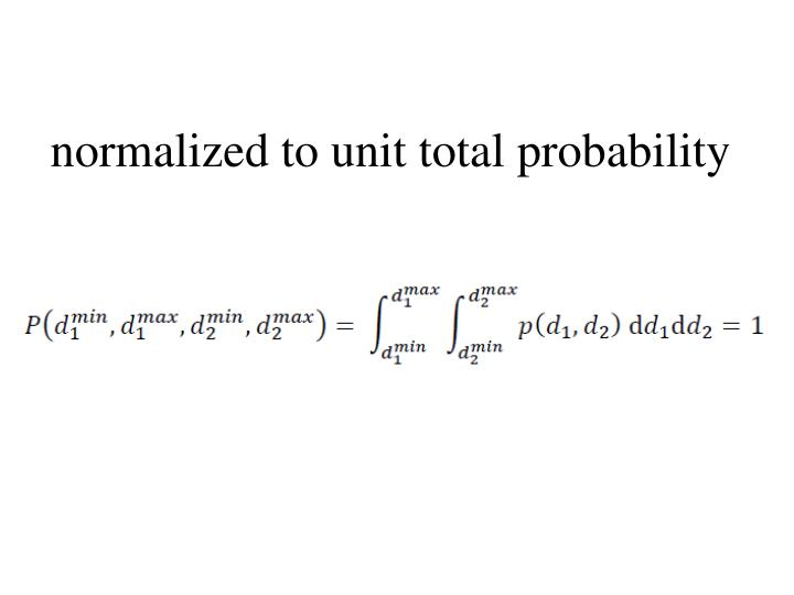 normalized to unit total probability
