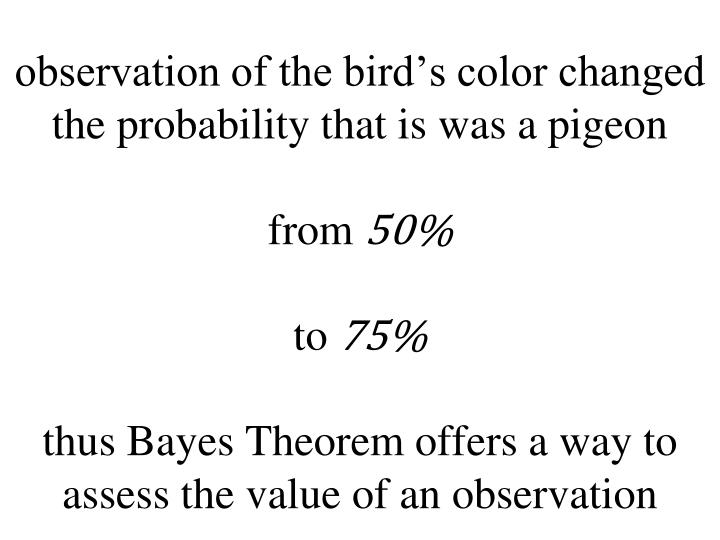 observation of the bird's color changed the probability that is was a pigeon