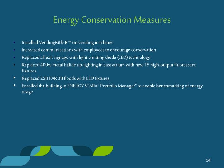 Energy Conservation Measures
