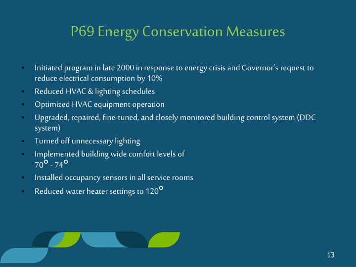 P69 Energy Conservation Measures