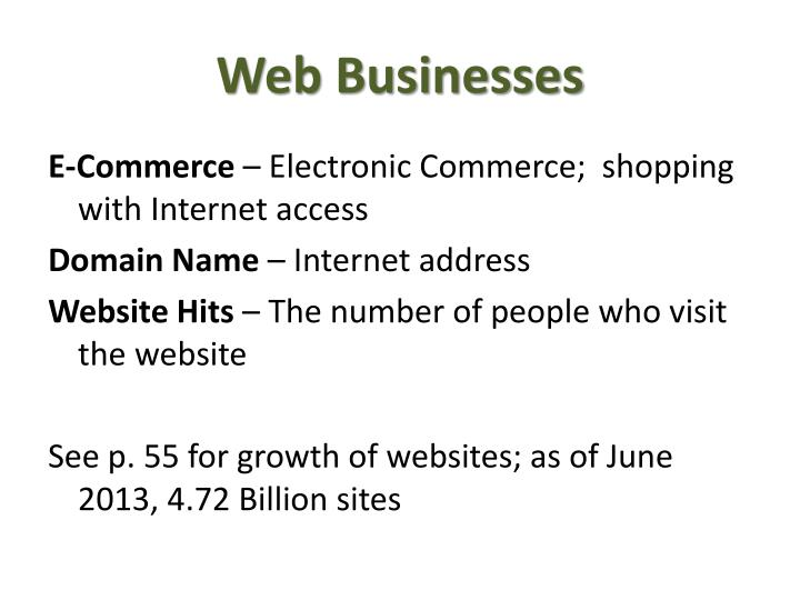Web businesses