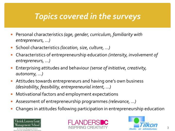 Topics covered in the surveys