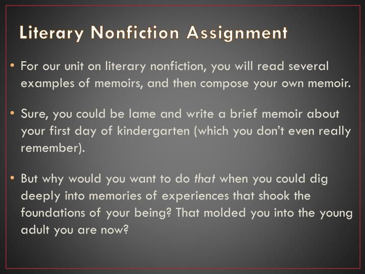 Literary Nonfiction Assignment