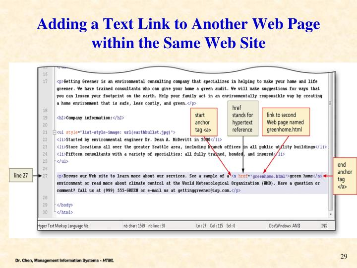 Adding a Text Link to Another Web Page within the Same Web Site