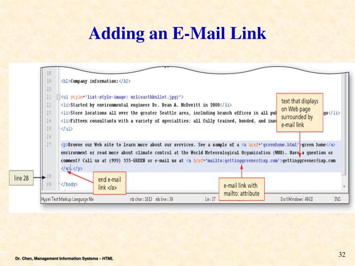 Adding an E-Mail Link