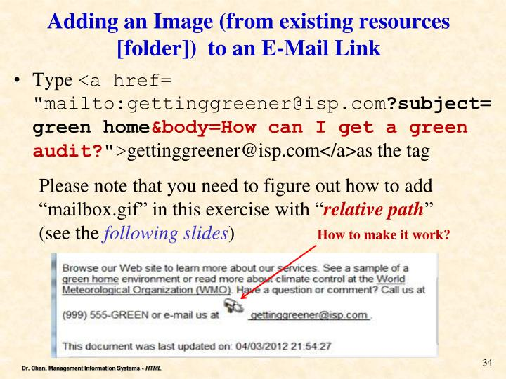 Adding an Image (from existing resources [folder])  to an E-Mail Link