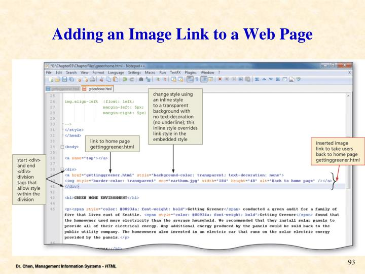 Adding an Image Link to a Web Page