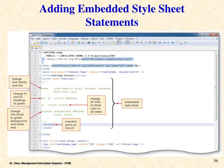 Adding Embedded Style Sheet Statements