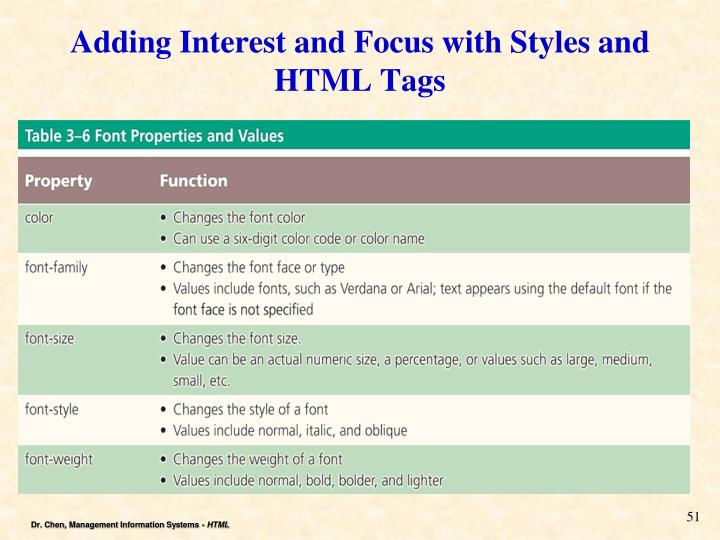 Adding Interest and Focus with Styles and HTML Tags