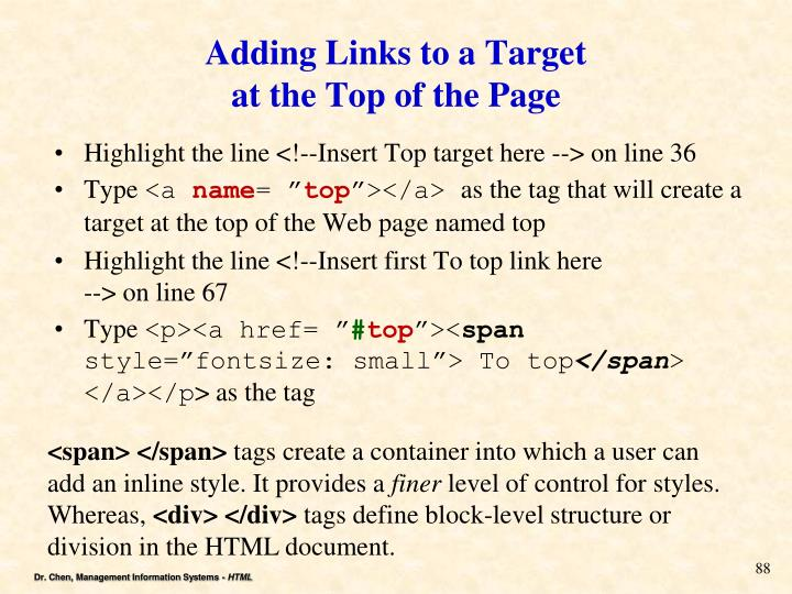 Adding Links to a Target