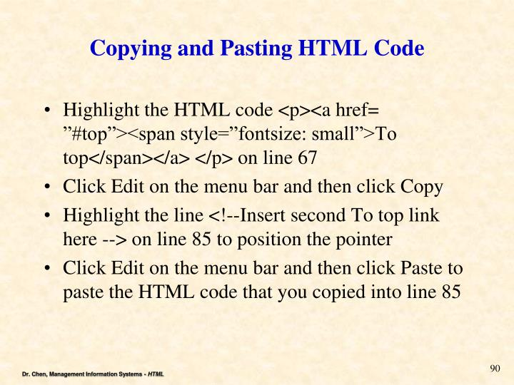 Copying and Pasting HTML Code