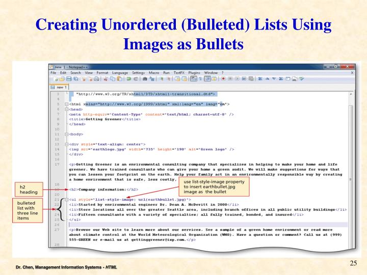 Creating Unordered (Bulleted) Lists Using Images as Bullets