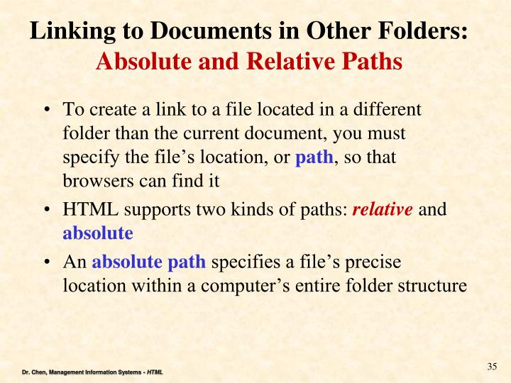 Linking to Documents in Other Folders: