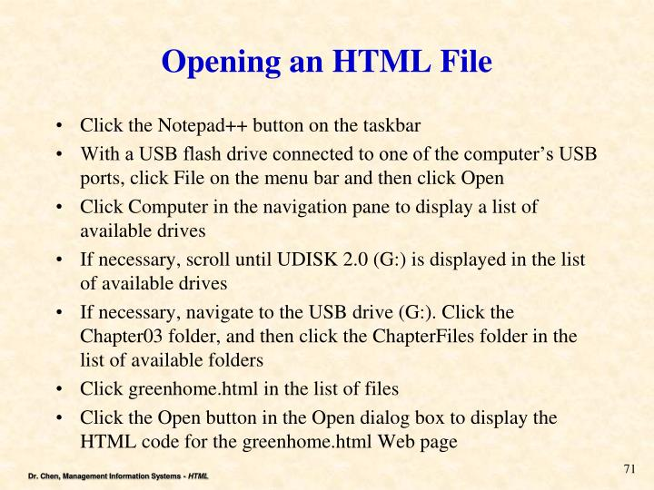Opening an HTML File