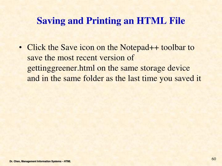 Saving and Printing an HTML File