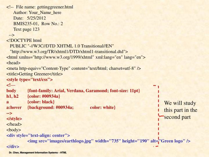 <!--  File name: gettinggreener.html