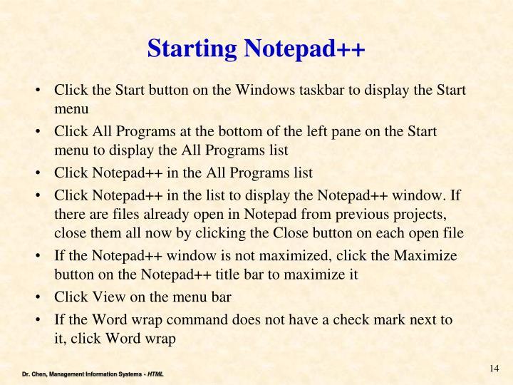 Starting Notepad++