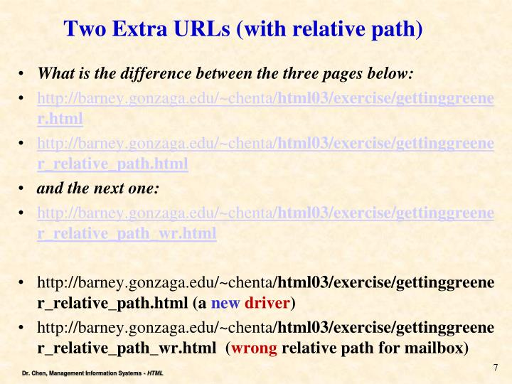 Two Extra URLs (with relative path)