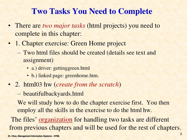 Two Tasks You Need to Complete