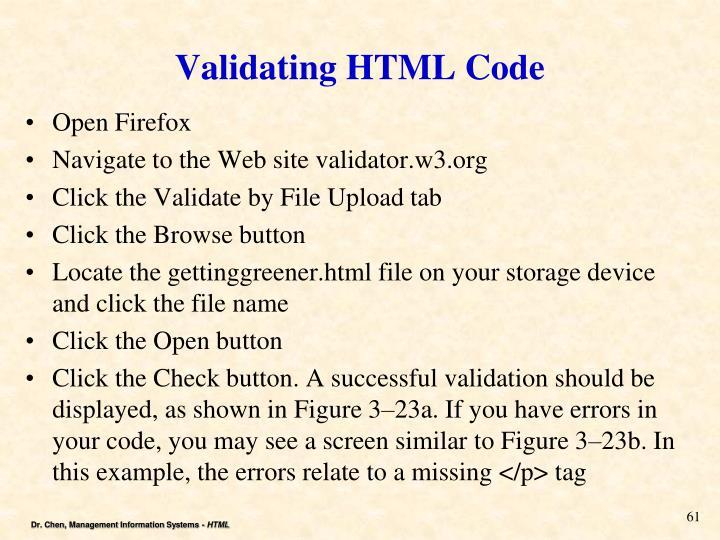 Validating HTML Code