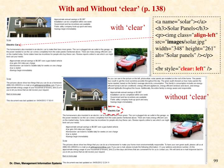With and Without 'clear' (p. 138)