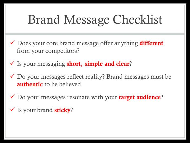 Brand Message Checklist