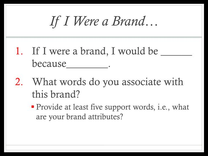 If I Were a Brand…