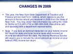 changes in 20091