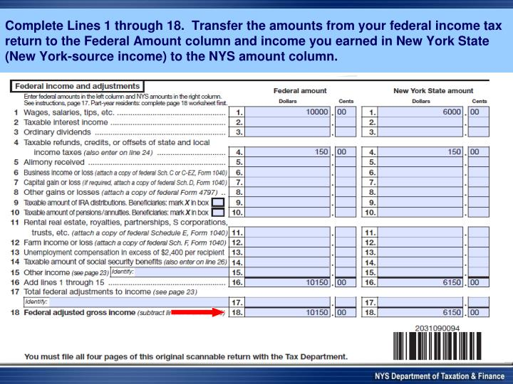Complete Lines 1 through 18.  Transfer the amounts from your federal income tax return to the Federal Amount column and income you earned in New York State (New York-source income)