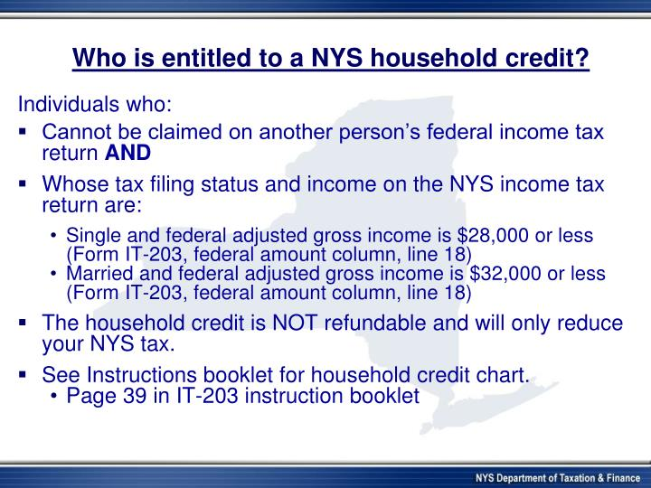 Who is entitled to a NYS household credit?
