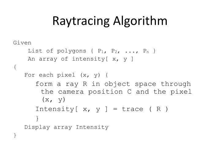 Raytracing Algorithm