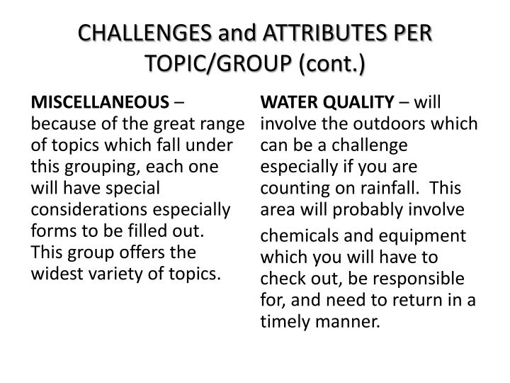 CHALLENGES and ATTRIBUTES PER TOPIC/GROUP (cont.)
