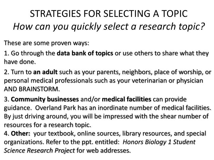 STRATEGIES FOR SELECTING A TOPIC