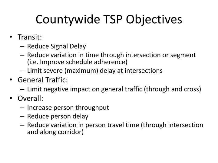 Countywide TSP Objectives