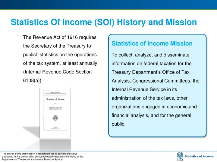 Statistics of income soi history and mission