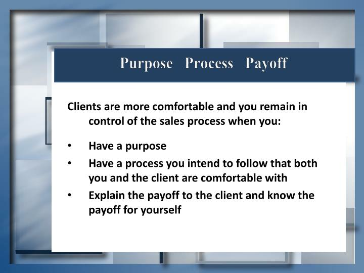 Purpose   Process   Payoff