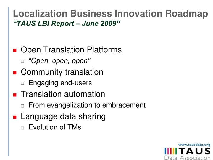 Localization Business Innovation Roadmap