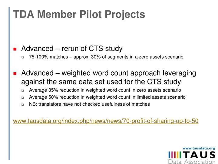 TDA Member Pilot Projects