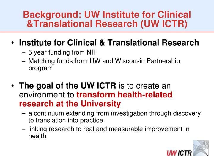 Background: UW Institute for Clinical &Translational Research (UW ICTR)