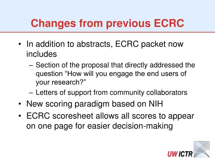 Changes from previous ECRC