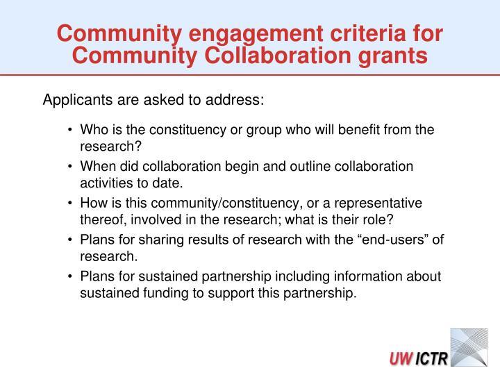 Community engagement criteria for