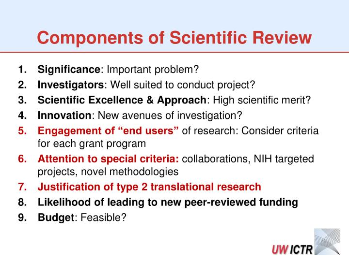 Components of Scientific Review