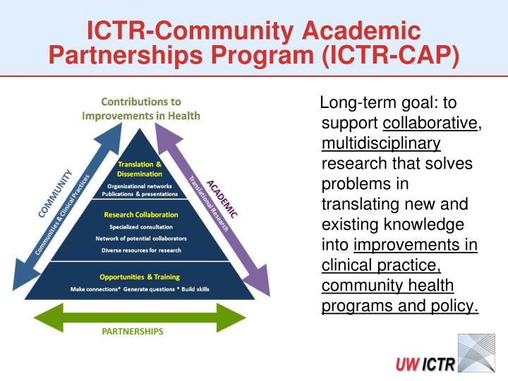 ICTR-Community Academic Partnerships Program (ICTR-CAP)