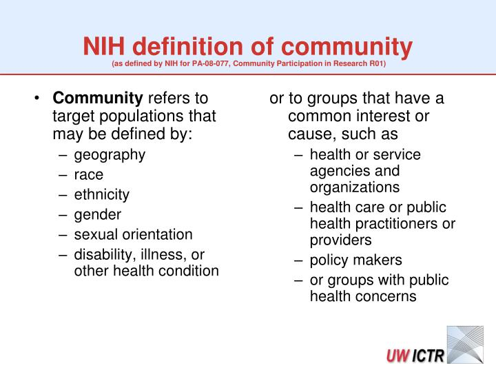 NIH definition of community