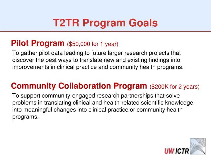 T2TR Program Goals