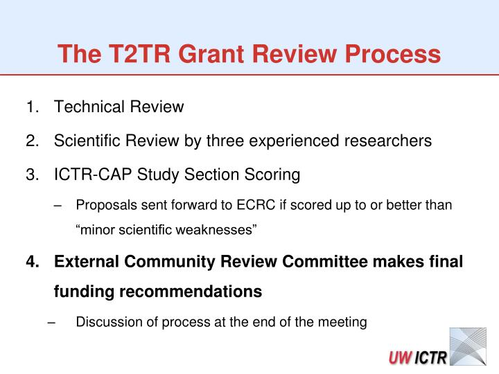 The T2TR Grant Review Process