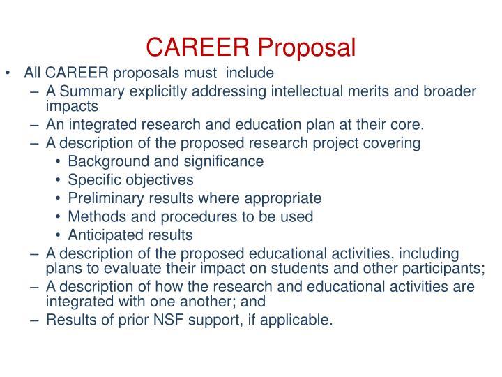 CAREER Proposal