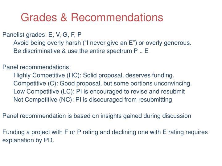 Grades & Recommendations